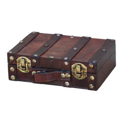 "Quickway Imports - Antique Style Small Mini Suitcase - Size: 6.2"" x 4.3"" x 1.9"""