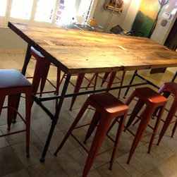 Reclaimed Wood Dining Table - White Oak / Gas Pipe - Thomas Porter