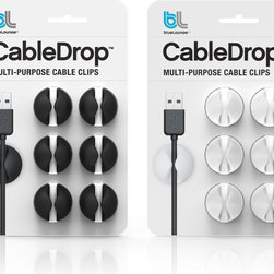 CableDrop - Cable management can now be fun and creative with these multi-purpose cable clips. The uniquely designed CableDrop fixes on or behind the desktop, even onto a facing wall, wherever you wish to have cables temporarily held yet easily extended. CableDrop gently grasps your power and peripheral cords so they do not fall off your desk every time you unplug your laptop or device.