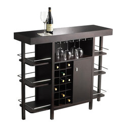 Sunpan - Sunpan Philmore Drink Bar - Dramatic and refined,this drink bar offers ample storage for wine bottles along with other bar accessories. This dazzling drink bar will be the showpiece of any soiree as it proudly showcases your liquor collection.
