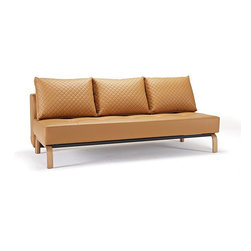 """Innovation USA - """"Innovation USA"""" Sly Deluxe Q Camel Leather Sofa Bed with Lacquered Oak Legs - Create a deluxe room with this """"Innovation USA"""" Sly Deluxe Q Camel Leather Sofa Bed with Lacquered Oak Legs. It is upholstered in high quality camel leather. This sofa can be converted in sofa bed. It features lacquered oak legs, which will lgo perfectly with camel upholstery.    Features:"""