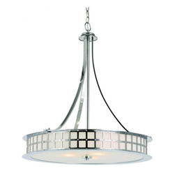 Joshua Marshal - Five Light Polished Chrome White Frosted Glass Drum Shade Pendant - Five Light Polished Chrome White Frosted Glass Drum Shade Pendant