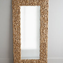 Horchow - Seagrass Random Weave Floor Mirror - Exclusively ours. Wrapped in randomly woven seagrass, this floor mirror brings coastal ambiance as well as functionality to the room. Handcrafted of wood composite, eco-friendly natural seagrass, and mirrored glass. Lacquer finish. Can be used indo...