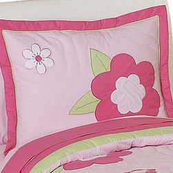 Sweet Jojo Designs - Flower Pink & Green Pillow Sham - The Flower Pink & Green standard pillow sham coordinates beautifully with the Sweet Jojo Designs Flower Pink & Green bedding collection. This pillow sham is a quick and easy way to complete the look and theme in your child's bedroom. Machine washable. Fits all standard size pillows.