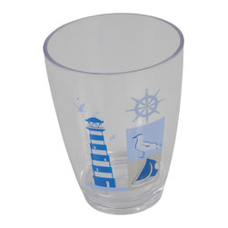 Printed Acrylic Tumbler Key West Blue - This printed tumbler Key West for bathrooms is in clear acrylic with maritime patterns. This tumbler is a lovely accent for any bathroom and its shape is flared upward with a diameter of 2.95-Inch and a height of 4.13-Inch. Wipe clean with a damp cloth. Color blue. Accessorize your bathroom countertop in a trendy style with this charming tumbler! Complete your Key West decoration with other products of the same collection. Imported.
