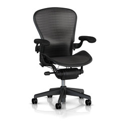 Herman Miller - Herman Miller Aeron Deluxe Graphite Chair - Deluxe With Fully Adjustable Arms, Tilt Limiter and Seat Angle Adjustment. Begin with what a work chair ought to do for a person. The chair needs to be instructed by your body in what is comfortable, not the other way around. Add designers who are serious about function, wellness and the Herman Miller(R) ideals of sustainability: You have the Aeron(R). It is the icon we all recognize as the epitome of best design and most desirable work chair.