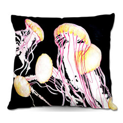 DiaNoche Designs - Pillow Woven Poplin from DiaNoche Designs by Marley Ungaro - Deep Sea Life- Jell - Toss this decorative pillow on any bed, sofa or chair, and add personality to your chic and stylish decor. Lay your head against your new art and relax! Made of woven Poly-Poplin.  Includes a cushy supportive pillow insert, zipped inside. Dye Sublimation printing adheres the ink to the material for long life and durability. Double Sided Print, Machine Washable, Product may vary slightly from image.