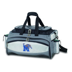 "Picnic Time - University of Memphis Vulcan Cooler And Propane Barbecue Set - The Vulcan is a Picnic Time original design and the ultimate tailgating cooler and propane barbecue set in one! Don't be fooled by other similar looking items on the market. Only Picnic Time's Vulcan features a PVC cooler that conveniently nests inside the compartment that houses the portable propane BBQ. The tote can carry the BBQ and a fully-loaded cooler at the same time! This patented, innovative design features a large insulated and fully-removable, water-resistant cooler that measures 16 x 8 x 7"" and holds up to 24 12-oz soda cans. Unzip the cooler from the main tote to access the portable propane barbecue grill that's included. The cooler has two carry straps on either side, and features a mesh pocket on the interior lid that fits a large ice pack/gel pack. The Vulcan also features an adjustable shoulder strap with comfort pad, a reinforced waterproof base, three large zippered exterior pockets to store personal effects, 2 drawstring pockets to hold propane tanks (not included), padded carry handles, and a stretch cargo cord on the top of the tote to carry a blanket or towel. Included in the tote are: 1 portable LP (propane) BBQ grill with lid (16.7 x 10.8 x 5.1""), one black drawstring bag to hold the grill, and three stainless steel tools with aluminum handles and non-slip thumb grips: 1 large spatula featuring a built-in bottle opener, grill scraper, and serrated edge for cutting, 1 pair of tongs, and 1 BBQ fork. Don't be caught without the Vulcan at your next tailgating party!; College Name: University of Memphis; Mascot: Tigers; Decoration: Digital Print; Includes: 1 fully-detachable cooler with handles, 1 portable LP (propane) BBQ grill with lid (16.7 x 10.8 x 5.1""), one black drawstring bag to hold the grill, and three stainless steel tools with aluminum handles and non-slip thumb grips: 1 large spatula featuring a built-in bottle opener, grill scraper, and serrated edge for cutting, 1 pair of tongs, and 1 BBQ fork"