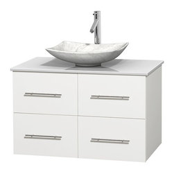 "Wyndham Collection - Centra 36"" Matte White SGL Vanity, White Stone Top, Arista Sink, No Mrr - Simplicity and elegance combine in the perfect lines of the Centra vanity by the Wyndham Collection. If cutting-edge contemporary design is your style then the Centra vanity is for you - modern, chic and built to last a lifetime. Available with green glass, pure white man-made stone, ivory marble or white carrera marble counters, with stunning vessel or undermount sink(s) and matching Mrr(s). Featuring soft close door hinges, drawer glides, and meticulously finished with brushed chrome hardware. The attention to detail on this beautiful vanity is second to none."