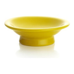 Yellow Cupcake Pedestal - Wee little pedestals in colorful stoneware add a touch of ceremony to presentation of cupcakes and other small treats.