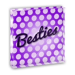 "Made on Terra - Besties My Best Friend Mini Desk Plaque and Paperweight - You glance over at your miniature acrylic plaque and your spirits are instantly lifted. It's just too cute! From it's petite size to the unique design, it's the perfect punctuation for your shelf or desk, depending on where you want to place it at that moment. At this moment, it's standing up on its own, but you know it also looks great flat on a desk as a paper weight. Choose from Made on Terra's many wonderful acrylic decorations. Measures approximately 4"" width x 4"" in length x 1/2"" in depth. Made of acrylic. Artwork is printed on the back for a cool effect. Self-standing."