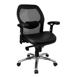 Flash Furniture - Flash Furniture Mid-Back Super Mesh Office Chair with Black Leather Seat - Mesh office chairs can keep you more productive throughout your work day with its comfort and ventilated design. The breathable mesh material allows air to circulate to keep you cool while sitting. The mid-back design offers support to the mid-to-upper back region. From behind the desk to the meeting room this chair can provide a seamless addition to your work space. The waterfall front seat edge removes pressure from the lower legs and improves circulation. Chair easily swivels 360 degrees to get the maximum use of your workspace without strain. The pneumatic adjustment lever will allow you to easily adjust the seat to your desired height. The adjustable armrests are beneficial for adjusting to different body types. The slim profile of a mesh chair will have your office at the cutting edge.