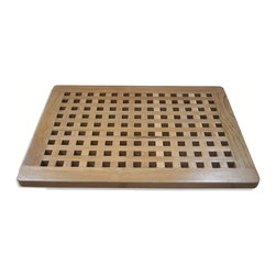 None - Solid Teak Shower Spa Mat - This quality teak shower spa mat is designed and handcrafted from solid teak wood valued for its remarkable resistance to moisture and humidity. The grid design mat has great durability along with a luxurious smooth texture.