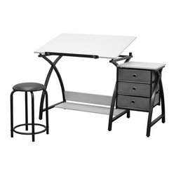 Studio Designs - Center Drafting Table Set in Black & White - Includes table, storage drawers, and stool. (3) 12.75 in. x 12.75 in. Storage Drawers. 24 in. Slide-Up Pencil Ledge. Additional Under Desktop Storage Shelf. Top Angle Adjustment from Flat to 20 Degrees. Heavy Gage Steel Construction for Durability. (6) Floor Levelers for Stability. 20.5 in. H Padded Stool Included. Overall Dimensions: 50 in. W x 23.75 in. D x 29.5 in. - 35.5 in. H. Top Dimensions: 36 in. W x 23.75 in. D