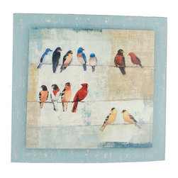 Paragon Decor - Usual Suspects - Convex - Birds on a wire image is stacked on a hand distressed blue painted convex board.