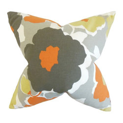 The Pillow Collection - Saar Floral Pillow, Orange - Bring a spring-inspired look to your interiors with this home decor.