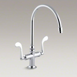 "KOHLER - KOHLER Essex(R) single-hole kitchen sink faucet with 9"" gooseneck spout - With its traditional barroom look and stylish blade handles, this Essex sink faucet brings classical flair to your kitchen. The high-arch gooseneck swing spout offers plenty of room for preparing food and cleanup. The blade handles are easy to turn off an"