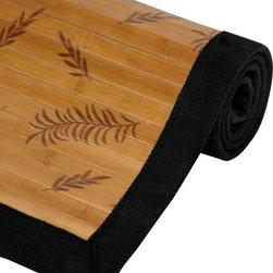 """Oriental Unlimited - Carbonized Little Leaf Bamboo Rug w Non-Slip - Choose Size: 96 in. L x 60 in. W x 1 in. HThis bamboo rug with its """"Little Leaf"""" design is an economic and green addition to any household. Features a non-slip latex backing, so it does not require a carpet pad. Made of a 100% natural mature bamboo, whose longer growth period ensures extra strength, tighter fibers and a harder surface. Good for the home and good for the earth. Kiln-dried bamboo is carbonized to prevent cracking and warping. Surrounded by a black cotton border. Bamboo is fully varnished with a subtle shine. No assembly required. 36 in. L x 24 in. W x 1 in. H. 72 in. L x 48 in. W x 1 in. H. 96 in. L x 60 in. W x 1 in. H"""