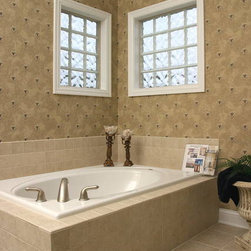 Glass Block Bathroom Windows - Two glass block windows were used above this soaking tub for privacy.