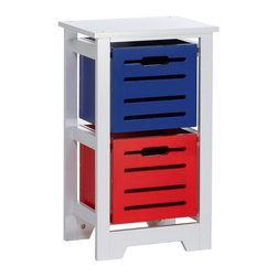 RiverRidge Kids - RiverRidge Cool Colors Collections Kids Bin Storage Cabinet Multicolor - 02-054 - Shop for Childrens Toy Boxes and Storage from Hayneedle.com! Cleaning up doubles as a lesson in bright colors and shapes with the RiverRidge Cool Colors Collections Kids Bin Storage Cabinet. Crafted with a durable MDF wood frame finished in crisp white this storage bin cabinet gets a primary-hued boost from multicolored storage bins inside. Choose your size each one comes with colored storage bins that have cutout handles and remove completely so you can pick up toys and sort as you go. The compact size is ideal for small kids rooms or playrooms and the height is just right for little ones' reaches. Assembly required.Dimensions2-bin cabinet: 11.75L x 15.75W x 26.25H in.3-bin cabinet: 11.75L x 15.75W x 36.5H in.4-bin cabinet: 11.75L x 27.63W x 26.25H in.Bin dimensions: 10.63W x 10.63D x 9.63H in.Bin interior dimensions: 9.88W x 9.63D x 9.13H in.