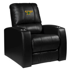 Dreamseat Inc. - Dallas Stars NHL Home Theater Leather Recliner - Check out this Awesome Leather Recliner. Quite simply, it's one of the coolest things we've ever seen. This is unbelievably comfortable - once you're in it, you won't want to get up. Features a zip-in-zip-out logo panel embroidered with 70,000 stitches. Converts from a solid color to custom-logo furniture in seconds - perfect for a shared or multi-purpose room. Root for several teams? Simply swap the panels out when the seasons change. This is a true statement piece that is perfect for your Man Cave, Game Room, basement or garage. It combines contemporary design with the ultimate comfort from a fully reclining frame with lumbar and full leg support.