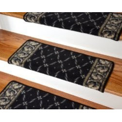 "Dean Flooring Company - Dean Modern DIY Bullnose Wraparound Non-Skid Carpet Stair Treads - Trellis Black - Dean Modern DIY Bullnose Wraparound Non-Skid Carpet Stair Treads - Trellis Black : Non Skid Modern Bullnose Wraparound Stair Treads By Dean Flooring Company. Protect stairs and steps in style and comfort with good looking, long wearing stair treads. Rectangular shaped, finished edge style in durable long-lasting nylon quality construction. Perfect for heavily trafficked areas. Helps prevent slips for you and your pets on your hardwood stairs. Protects your hardwood from wear and tear.  Non-skid foam rubber back. Cuts down on track-in dirt. Extends the life of your hardwood stairs. Easy to keep clean-spot clean and vacuum. Edges are finished with color matching yarn. Easy do-it-yourself installation with included advanced adhesive roll. Will not damage your flooring.  Easy to remove.  Will not leave sticky residue.  Each tread is approximately 26"" x 12"" (Covers 10""). Set includes 13 stair treads. Add a touch of warmth and style to your home today with stair treads from Dean Flooring Company!"