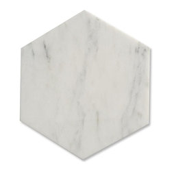 "GlassTileStore - Zenith Asian Statuary Hexagon Honed Marble Tile - Zenith Asian Statuary Hexagon Honed Marble Tile             This marble mosaic will provide endless design possibilities from contemporary to classic. It creates a great focal point to suit a variety of settings. Natural stones are products of nature, therefore, variations in color, pattern, texture, and veining will occur.         Size: 10"" Hexagon   Color: Asian Statuary    Material: Marble   Finish: Honed    Sold by the Unit - each unit is 0.6   Thickness: 10mm   Please note each lot will vary from the next.            - Glass Tile -"