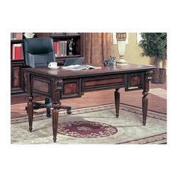 Parker House - Writing Desk - Huntington - Our writing desk from the Huntington Collection brings graceful proportions to a home or office setting. It's a warming traditional piece with fluted legs, carved corbels and framed burl veneers. Create an elegant backdrop with matching bookcases and display cabinets. Solid poplar and Maple veneers. Multi-step Chestnut with accent shading and highlights, hand distressing, medium sheen top coat. 60 1/4 in. W x 30 in. D x 30 in. H