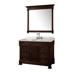 Wyndham Collection Andover 48-in. Dark Cherry Single Bathroom Vanity Set - Update your bathroom with the classic style of the Wyndham Collection Andover 48-inch Dark Cherry Single Bathroom Vanity. This single vanity features a quality solid oak hardwood construction finished in Dark Cherry. The solid marble countertop is hand crafted and includes a backsplash with a porcelain under-mount sink. Spacious storage is available behind lower cabinet doors for a variety of bathroom necessities. This vanity also comes with an included matching mirror with a beautiful wood frame that will complete the look of your bathroom.About the Wyndham CollectionWyndham and the Wyndham collection are all about refinement, detailing, uniqueness, quality, and longevity. They are dedicated to the quality of their products and own the factory where each piece is constructed. This allows Wyndham to offer products that reflect the rigorous quality standards required for every piece that is offered to their customers. The Wyndham collection showcases elegant, modern design styles that highlight functionality and style in every detail.