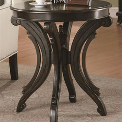 Coaster - 26 in. Accent Round End Table - Contemporary style. Animal print top. Scrolled base. Brown finish. 26 in. Dia. x 28.25 in. H. WarrantySpice up your living area with this original end table. Refreshingly creative, this end table is a fun piece to decorate your home.
