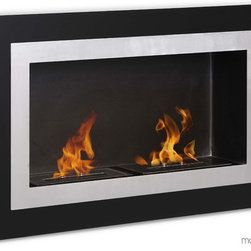 Ronda GF102401BK Bio-ethanol Wall Fireplace by Moda Flame - The Ronda contemporary fireplace has a decorative glass on a steel inner frame to create the effect of a lively piece of art. Its elegant look is sure to complement its surrounding. The Ronda is equipped with two separate burners for enhanced ambiance.