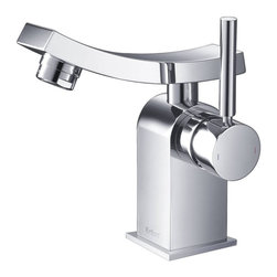 Kraus - Kraus KEF-14301BN Unicus Single Lever Basin Faucet, Chrome, 6.1 X 3.6 X 3.6 - One of a kind design, sleek lines in a bright polished chrome appearance brings an implied look to any bathroom decor