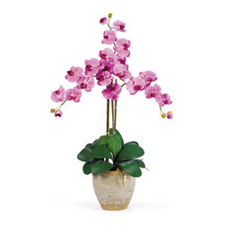 Nearly Natural - Triple Stem Phalaenopsis Silk Orchid Arrangement - Looking for the perfect orchid with absolutely no maintenance? The 27' triple stem phalaenopsis is a classic orchid to be enjoyed by all, even the most discriminating customer. Each silk plant comes with three beautiful phalaenopsis stems each with 6 flowers and 2 buds. Finished with a gorgeous glazed ceramic vase designed to coordinate with any decor, this beauty will bring color and life into any space. Color: Mauve, Height: 27'', Vase: H 7'' W 8-1/2'