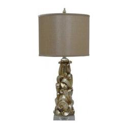YOSEMITE HOME DECOR - 1 Light Resin Table Lamp with Brown Fabric Shade - - 31 Inch Resin Table Lamp with Brown Fabric Shade