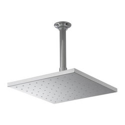 "Kohler - Kohler K-13696-CP Chrome Rainhead 10"" Contemporary Square Rain - 10"" Contemporary Square Rain Showerhead from the Rainhead Collection The new KOHLER Rainhead collection delivers the most comprehensive offering of rain showerheads available in the market today, providing an affordable and scalable showering solution that coordinates designs and finishes with the rest of the KOHLER faucets and accessories.  Low profile design creates a striking contemporary centerpiece in any custom shower installation Superior spray performance with Katalyst Spray Technology(tm) delivers a luxurious and drenching  rain  experience Optimized sprayface design creates a denser uniform spray pattern for consistent coverage and feeling of warmth MasterClean(tm) sprayface with translucent nozzles resists mineral buildup and ensures reliable performance for years to come 2.5 gallons per minute flow rate Solid brass construction ensures durability and reliability Comprehensive Finish Offering compliments KOHLER s complete faucet and accessory program"