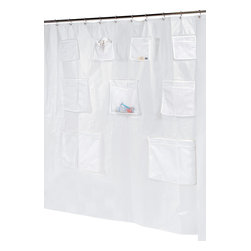 """Pockets"" PEVA Shower Curtain in Super Clear - ""Pockets"" peva shower curtain or liner with 9 mesh storage pockets.  Size 70""x72"". Our Standard-Sized (70'' w x 72'' l) ""Pockets"" PEVA Shower Curtain ensures you never again have to step out of the bath sopping wet to retrieve a grooming essential. This durable, heavy weight (6 gauge) PEVA curtain has 9 polyester mesh pockets for easy-access storage. PEVA is unique in that it lacks both PVC and the Chlorine that tends to give vinyl curtains an unseemly chemical smell yet remains water repellant. PEVA is also inherently resistant to mildew and mold and wipes clean easily. Additionally, rust-proof metal grommets along top of the curtain help prevent unsightly tears on the heavy weight material. Here in Super Clear, this style curtain or liner is also available in Frosty Clear. Wipe clean with damp sponge with warm soapy cleaning solution"