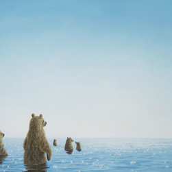 "Robert Bissell - ""Sweet Ocean"" 2014 Fine Art Original Oil Painting - ""Sweet Ocean depicts the moment when the sun shimmers brilliantly on blue ocean waters. The bears are captivated by the glistening sun and venture toward it through calm water. The color delicately and gently transitions from white to lighter blues, making possible their journey toward the reflected light and out into the unknown of the ocean."""
