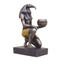 TLT - 6.25 Inch Cold Cast Bronze Finish Egyptian Thoth Candle Holder Statue - This gorgeous 6.25 Inch Cold Cast Bronze Finish Egyptian Thoth Candle Holder Statue has the finest details and highest quality you will find anywhere! 6.25 Inch Cold Cast Bronze Finish Egyptian Thoth Candle Holder Statue is truly remarkable.