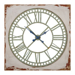 In Roman Times Wall Clock - The clean dial of the In Roman Times Wall Clock offers a surprisingly contemporary edge to a rustic inspired design. The bold roman numerals play on both old and modern times, while the distressed cream color complements mint green and powder blue accents. Just a hint of natural exposed wood lends a farmhouse feel to a classically modern clock.