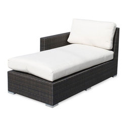 None - Lucaya Outdoor Left Arm Facing Chaise - Add a stylish touch to your outdoor furnishings with this chaise. An espresso finish and comfortable cushions highlight this weather-resistant chaise.