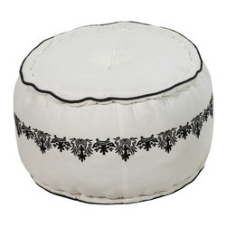 Damask Filigree Pouf - Don't be fooled by the dainty band of filigree pattern against this sweet black and white pouf. Made from a blend of soft cotton and sturdy jute, it's strong enough to stand up to years of making your evening more comfortable.