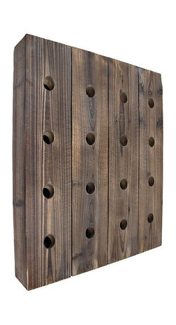 Wall Mounted 16 Bottle Rustic Wooden Wine Rack 25 in. X 20 1/2 in. - Add a charming, rustic accent to your existing decor with this wooden wall mounted wine rack. It accommodates up to 16 bottles of your favorite wines, and measures 25 inches tall, 20 1/2 inches wide, 3 1/2 inches deep. This rack is an attractive display and a practical storage solution for the wine connoisseur. It looks great in homes or restaurants, and makes a great housewarming gift. NOTE: Mounting hardware is included.