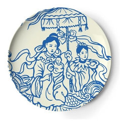 "Thomas Paul - Hong Kong Tray - Features: -Inspired by traditional blue and white ceramics. -Material: Melamine. -Dishwasher safe. -Overall dimensions: 14"" W x 14"" D."