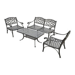Crosley Furniture - 4-Pc Outdoor Seating Set in Charcoal Black - Includes loveseat, two club chairs and cocktail table. Transitional style. Contoured seat for comfort. Maintenance free. UV resistant. Non-toxic sealed powder coated finish. ISTA 3A certified. Warranty: 90 days. Made from heavy duty cast aluminum. Loveseat: 51 in. W x 29.5 in. D x 31 in. H (54.8 lbs.). Chair: 26 in. W x 29.5 in. D x 31 in. H (31.8 lbs.). Cocktail table: 42 in. W x 21 in. D x 18.5 in. H (23.9 lbs.). Overall weight: 142.3 lbs.. Assembly InstructionsIt may be hot outside, but youll feel cool kicking back in our heavy duty, solid-cast aluminum furniture. Designed for style and built to last, this outdoor conversation seating set will weather the harshest of outdoor conditions. Experience pure nirvana while unwinding in the chairs comfortable contoured seats. Your very own outdoor oasis awaits you!