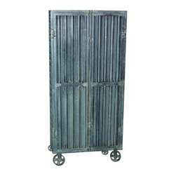 YOSEMITE HOME DECOR - Corrugated Metal Storage Cabinet - This decorative storage cabinet is made of sold corrugated metal. Featured in a washed aged gray finish resting on four cast iron wheels. Three metal shelves w/a garment rack rest behind two metal doors w/a fully functional top & metal bottom latching catch. Assembled and made in India.  Item Dimension in 30inches Width X 12inches Depth X 65inches Height