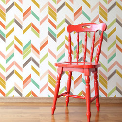 Large Graphic Herringbone Shuffle Allover Stencil by Royal Design Stencils - It's been a while since I saw a stencil that made me want to tackle a weekend project. This herringbone design, with its cool play of color and white space, has jumped onto my DIY wish list. And it's a much cheaper alternative to wallpaper if you want a little pattern on your wall.