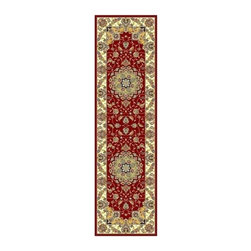 Safavieh - Red Floral Rug with Border (2 ft. 3 in. x 8 ft.) - Size: 2 ft. 3 in. x 8 ft. Machine Made. Made of Polypropylene. Red and ready to enhance your decor, this Lyndhurst runner rug also shows multicolor details for added depth. A traditional floral motif is expertly arranged and offset with an ivory border.