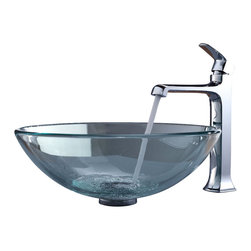 Kraus - Kraus Clear Glass Vessel Sink and Decorum Faucet Chrome - *Add a touch of elegance to your bathroom with a glass sink combo from Kraus