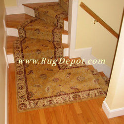 Nourison Saffira Gold - Nourison Saffira - Gold Stair Runner staircase install. Installation by RugDepot.com