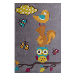 Rug - ~4 ft x 6 ft. Grey/Blue Kids Bedroom Area Rug,  Soft & hand-tufted - ZOOMANIA KIDS COLLECTION
